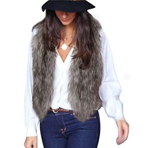 RETUROM fashion Women Vest Sleeveless Coat Outerwear Long Hair Jacket Waistcoat