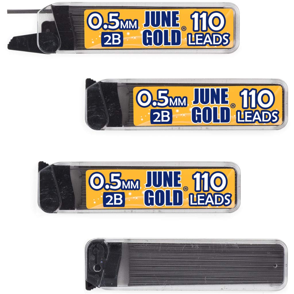 June Gold 440 Pieces, 0.5 mm 2B Lead Refills, 110 Pieces Per Tube, Fine Thickness, Break Resistant Lead/Graphite (Pack of 4 Dispensers)