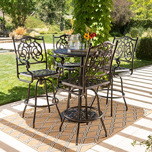 - Handel Outdoor Patina Copper Finish Cast Aluminum Bar Set (5 Piece Set)