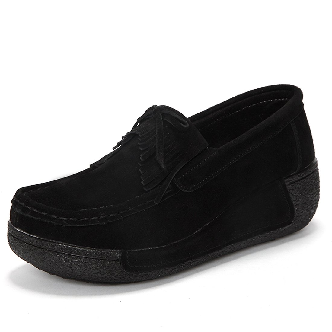 Z.SUO Suède Mocassins Femmes Suède Casuel Confort Chaussures Loafers Chaussures Z.SUO Noir.2 1244160 - therethere.space