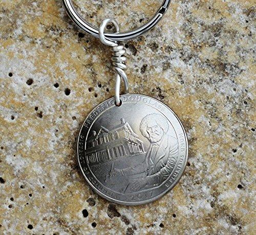 2017 Commemorative Quarters - Frederick Douglass Domed Coin Keychain U.S. Commemorative Quarter Key Ring 2017