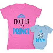Mother of a Prince & Son of a Queen Mommy and Baby Boy Matching Set Shirt Bodysuit Clothing Baby Newborn/Women Medium, Women Pink/Baby Aqua