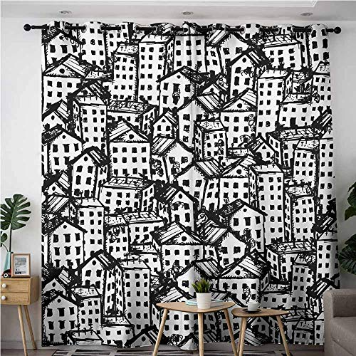 Indoor/Outdoor Curtains,Grunge,City Sketch in Black and White Architecture Modern Buildings Urban Life Metropolis,Space Decorations,W72x96L,Black White]()