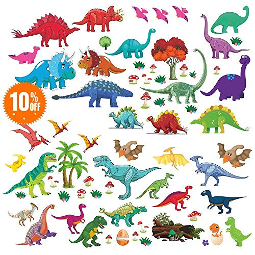Stickers Assembly - Lemostaar Wall Decals Dino & Friends Decorative Dinosaur Stickers for Boys & Girls, Peel and Stick Colorful Wall Art Mural for Bedroom, Baby Nursery, Classroom & More