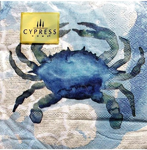 Cypress Home Cocktail Beverage Paper Napkins ~ Blue Crab 40 ct