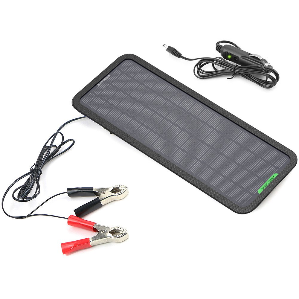 ALLPOWERS 18V 5W Portable Solar Car Battery Charger Bundle with Cigarette Lighter Plug, Battery Charging Clip Line, Suction Cups & Manual by ALLPOWERS (Image #1)