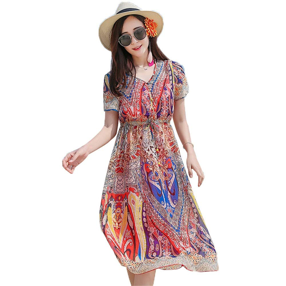 colorful Women's Casua Beach Dress Women Short Sleeves V Neck Floral Print Bohemian Beach Dress Sundress Summer Holiday Dress Party Casual Dress Elegant Waist Tie Printed Dress (color   colorful, Size   XL)