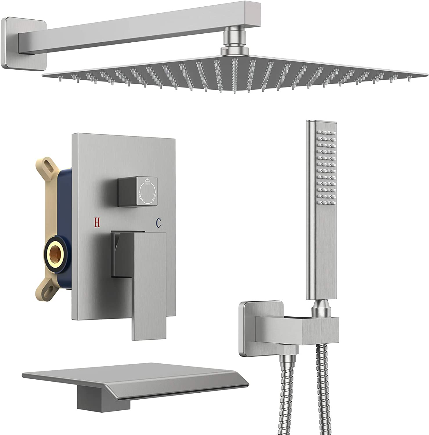 IRIBER Rain Shower System with Waterfall Tub Spout, 3-Function Shower Trim Kit Square Shower Faucet Set with 12 Inch Rain Shower Head and Handheld, Brushed Nickel