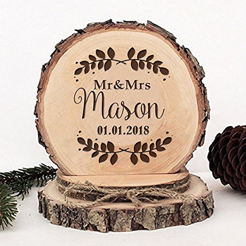 KISKISTONITE Wooden Wedding Cake Toppers Name Custom Tree Leaves Design, Engraved Mr and Mrs Cake Rustic Country Decoration Favors Party Decorating Supplies