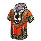 Orang African Dashiki Shirt Unisex Africa Indian Traditional Hoodie Top Clothes One Size fits All (Orange)