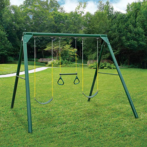 (Swing-N-Slide Orbiter Complete Wooden Swing Set, Safety Tested for Backyards with Two Swings & Trapeze Handle bar)