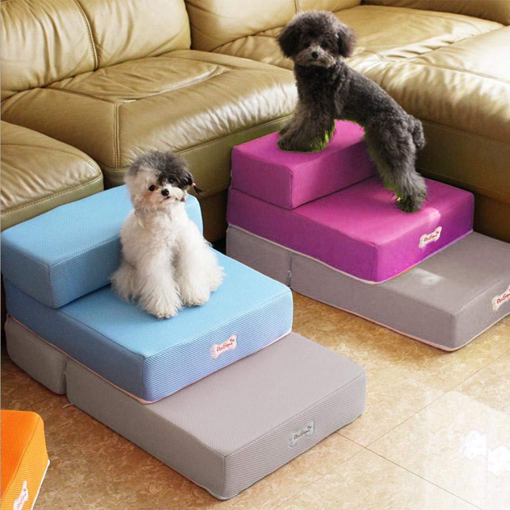 Eternitry Escaleras para Mascotas 2 Pasos Escalera de rampa para Perros con Cremallera Desmontable Lavable Pasos de Rejilla sofá Espuma Gato Perro Cubierta ...