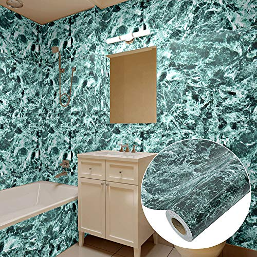 Cyan Granite Counter Top Film Self Adhesive Vinyl Counter Top Contact Paper Faux Peel and Stick Contact Paper for Countertops Cover 24 x 118 inch