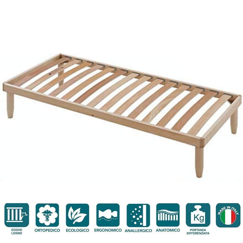EvergreenWeb Orange Wooden Slatted Fixed Bed Base Small Double - 4ft x 6ft4 (120 x 195 cm) EvergreenWeb s.r.l.