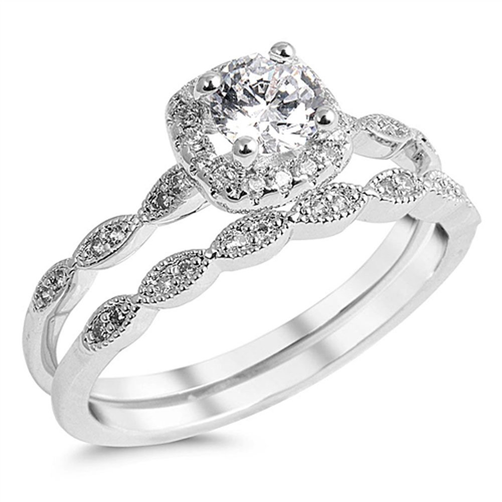 Round Solitaire White CZ Wedding Ring Set .925 Sterling Silver Band Size 5