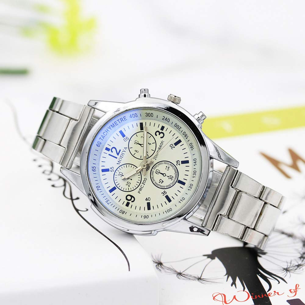 Mens Watch, Iuhan Stainless Steel Sport Quartz Hour Wrist Analog Casual Watch (B) by Iuhan  (Image #3)