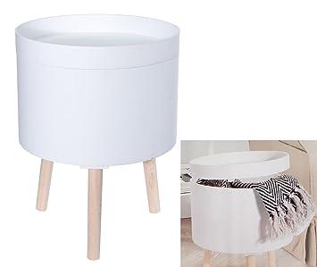 Design Beistelltisch 35cm Weiß Sofatisch Mit Aufbewahrungsbox