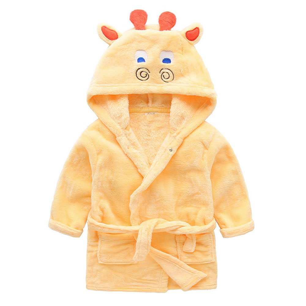 Little Boys Girls Bathrobes,Toddler Kids Cartoon Hooded Plush Robe,Animal Pajamas Fleece Bathrobe for Kids