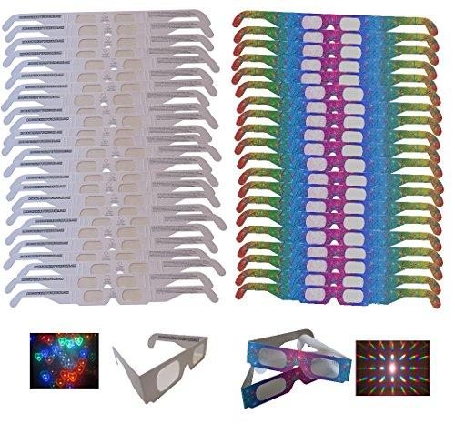 Robs Super Happy Fun Store Fireworks Diffraction Glasses - 50 Pair Mix - (25 Pair Rainbow Hearts + 25 Pair Rainbow Spectrum)