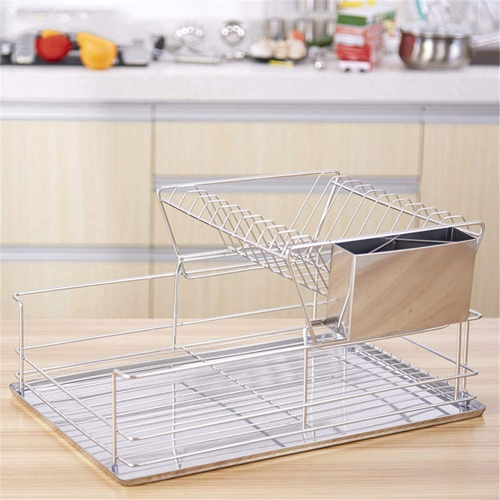 キッチンドレンラック キッチン・取り外し可能なコンパクト刃物用ドレンプレートとディッシュドレンキット 実用的で安定した多用途 (色 : Silver, Size : 48x32x23cm)