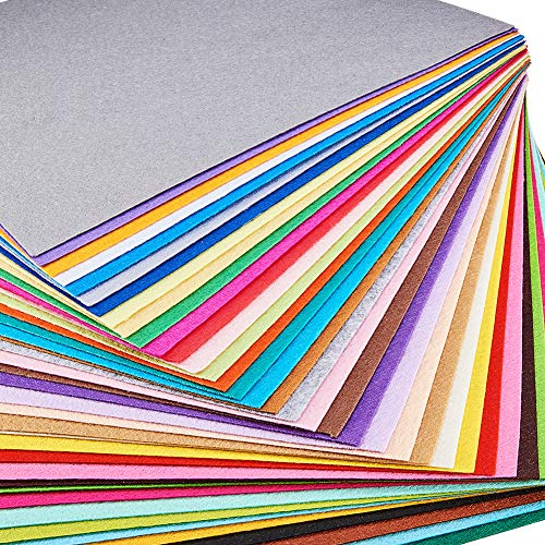 BENECREAT 40PCS 12 x 12 inches (30cm x 30cm) Soft Felt Fabric Sheet Assorted Color Felt Pack DIY Craft Sewing Squares Nonwoven Patchwork