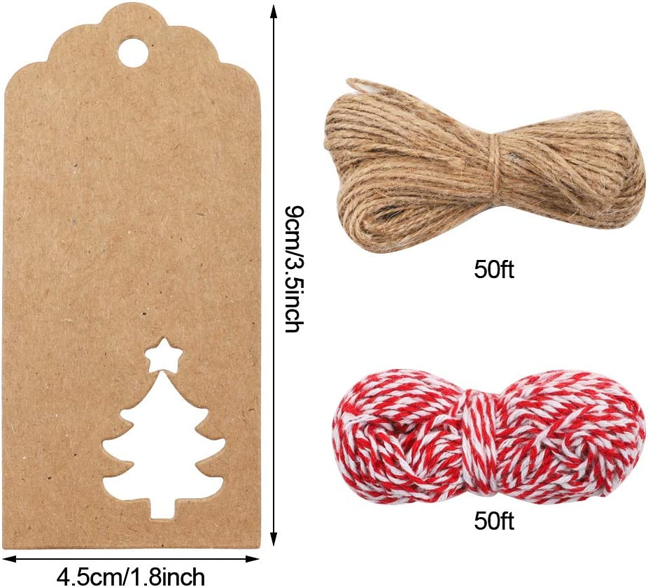 240 Pack Christmas Gift Tags 14 Styles Kraft Tags Hang Labels with 100 Feet Natural Twine String and Christmas Tree Snowflake Snowman Reindeer Hat Santa Claus Design for Decoration