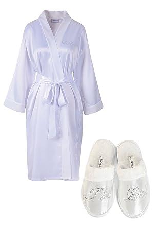 Amazon.com: White Rhinestone The Bride Satin Bridal Dressing Gown ...