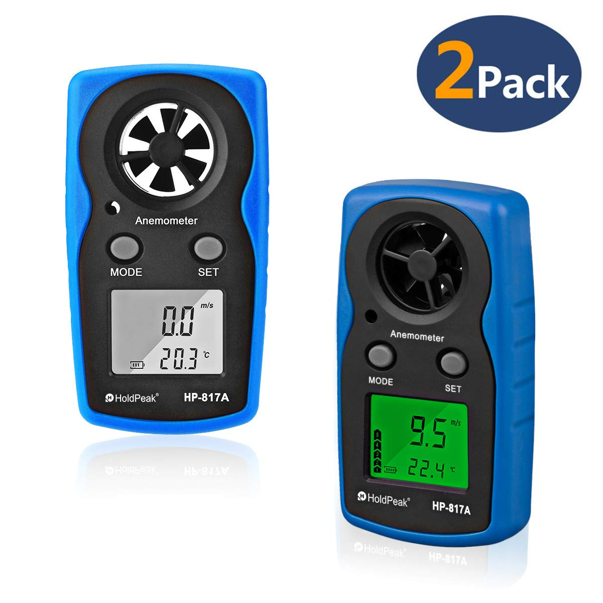 HOLDPEAK 817A Digital Anemometer Handheld Pocket Sized Wind Speed Meter for Measures Wind Speed, Temperature, Wind Chill with Backlight and Auto/Manual Power Off (2packs)