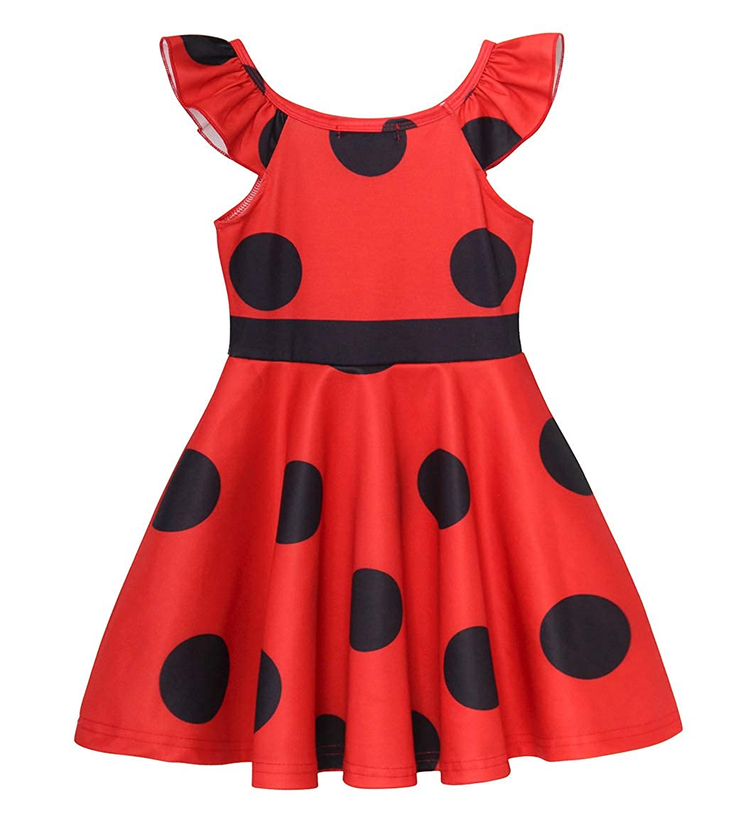 AmzBarley Ladybug Costume Girls 3 Pieces Fancy Party Dress up Outfit