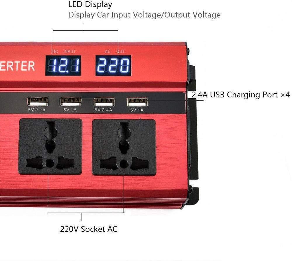 NBQABN Inversor de Corriente Onda Pura 900W Pico 2000W Transformador De 12v 24v A 220v 230v convertidor USB LED 2 Enchufe con Control Remoto inal/ámbrico para Coche Caravana c/ámping de Viaje,12V