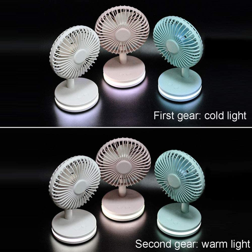 ASDAD USB Mini Fan with LED Night Light Five-Leaf Design Low Noise 3 Speeds Portable Handheld Fan for Home Office Outdoor Travel,Blue,Pink