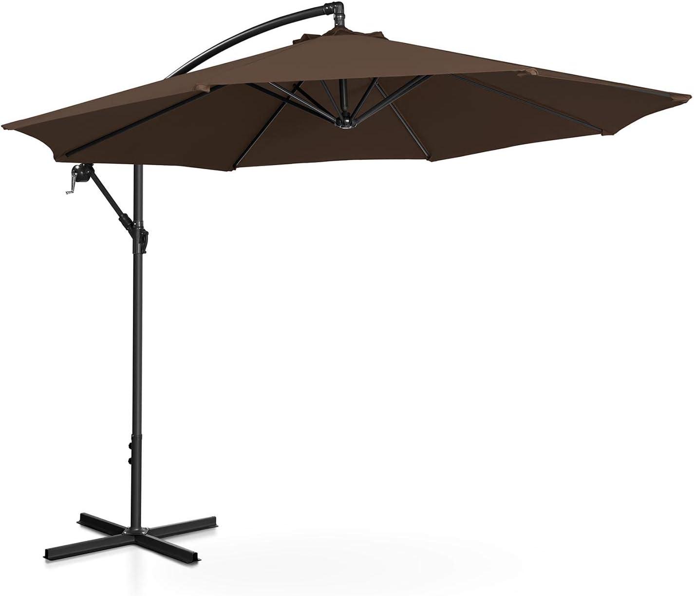 Uniprodo Sombrilla Tipo Semáforo Parasol Colgante Uni_Umbrella_R300BR (Pantalla Redonda, Diámetro 300 cm, Inclinable, Color Marrón)