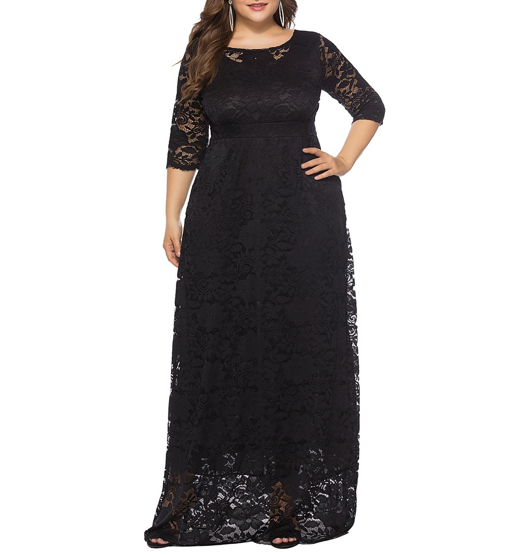 Eternatastic Womens Floral Lace 2/3 Sleeves Maxi Dress Plus Size Evening  Party Dress | Best Selling Dresses at Izidress.com