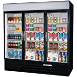 Beverage-Air MMR72-1-B-LED MarketMax 75 Three Section Glass Door Reach-In Merchandiser Refrigerator with LED Lighting 72 cu.ft. Capacity Black Exterior and Bottom Mounted