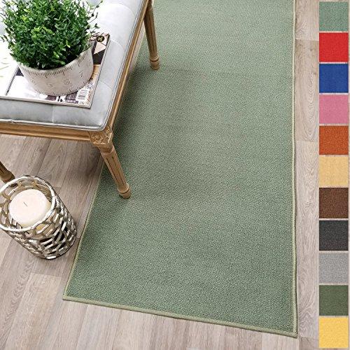 Kapaqua Custom Size OLIVE GREEN Solid Plain Rubber Backed Non-Slip Hallway Stair Runner Rug Carpet 22 inch Wide Choose Your Length 22in X (10' Runner Olive)