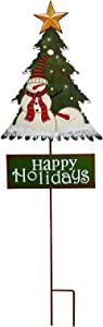 Morning View Christmas Tree Garden Stake Happy Holiday Metal Stake Yard Decor, Hand Painted Santa Snowman Xmas Tree Yard Stake Holiday Outdoor Garden Stake Decoration (Green)