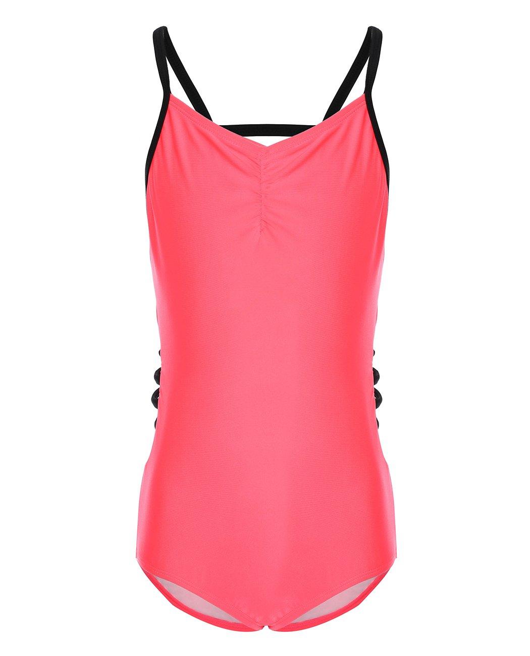 iDrawl Kids Beach Swimwear One Piece Girls Swimsuit Red Waist Cutout Bathing Suit