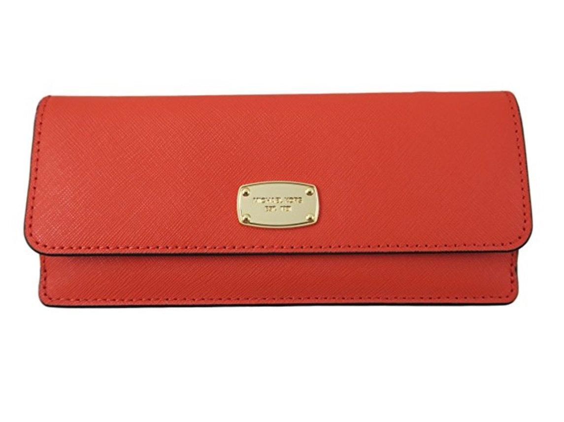 Michael Kors Jet Set Travel Flat Saffiano Leather Wallet (Sienna Orange) by Michael Kors