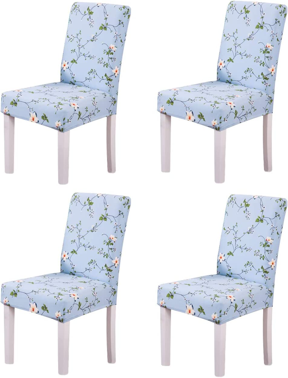 Ogrmar 4PCS Stretch Removable Washable Dining Room Chair Protector Slipcovers/Home Decor Dining Room Seat Cover Multiple Styles (Style 4)