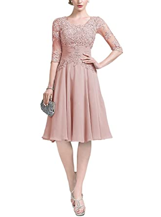 d7fb86ee0787 Homecy Short Chiffon Bridesmaid Dresses Lace Appliques Half Sleeve Wedding  Evening Party DressesBlush Size 2