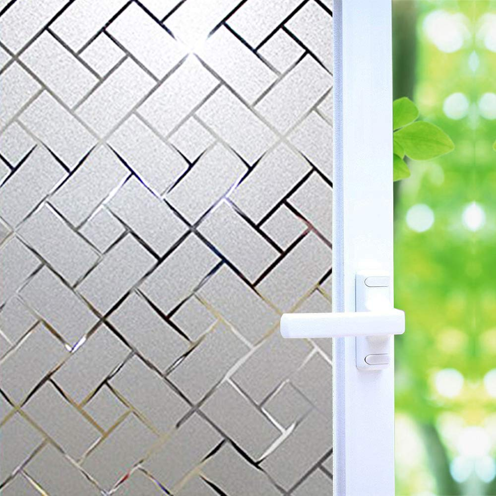No Glue Window Film Privacy, Frosted Window Decal/Privacy Protection/Heat Control/Anti UV, Latticed Frosting Stained Glass Static Cling for Home/Office, 35.5x78.7 inch by Wayber