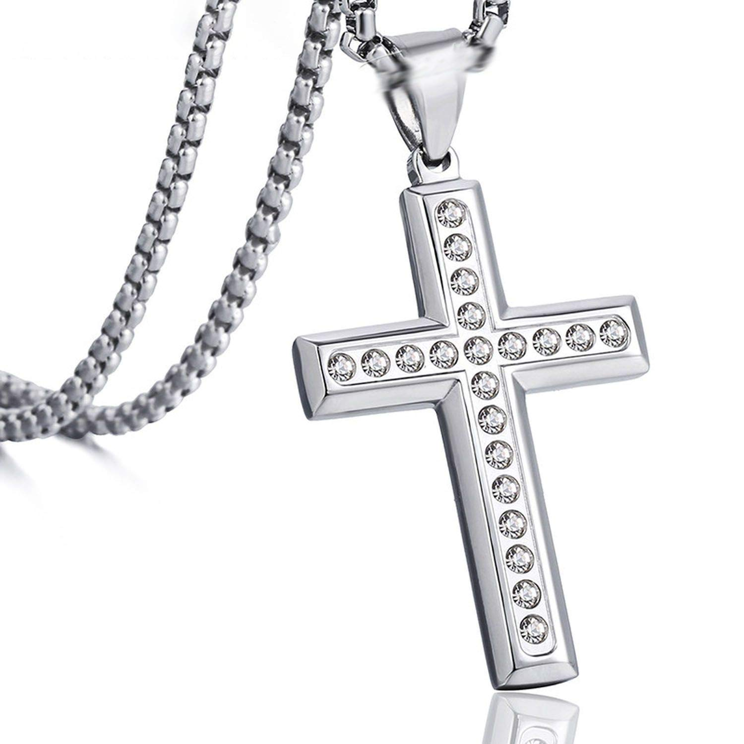 Cz Rhinestone Gold Silver Color Pendant Cross Necklace for Men Stainless Steel Mens Chain Jewelry,Gold,90cm