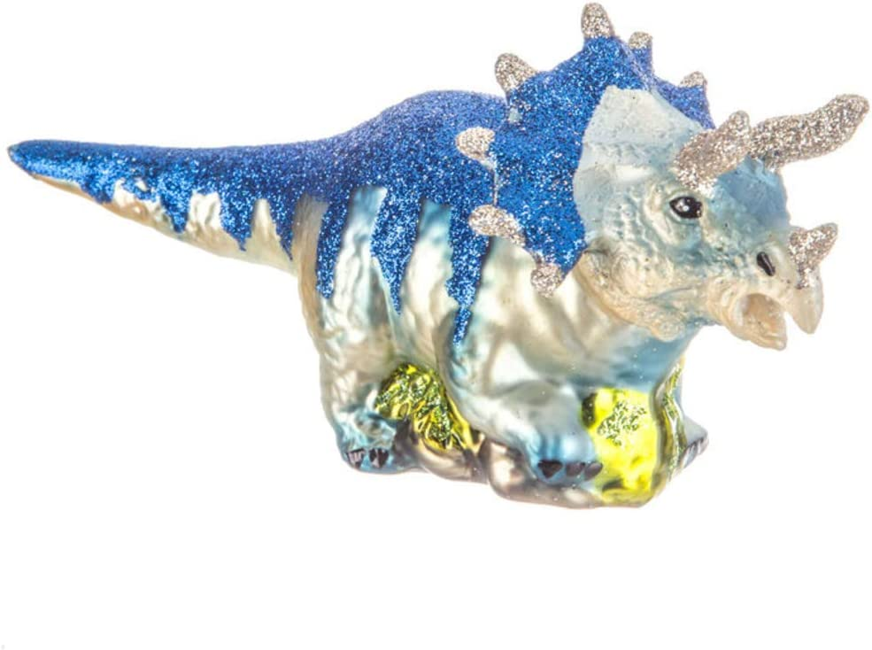 Robert Stanley Triceratops Jurassic Dinosaur Glass Tree Ornament, Dino Gifts for Christmas, Paleontologists