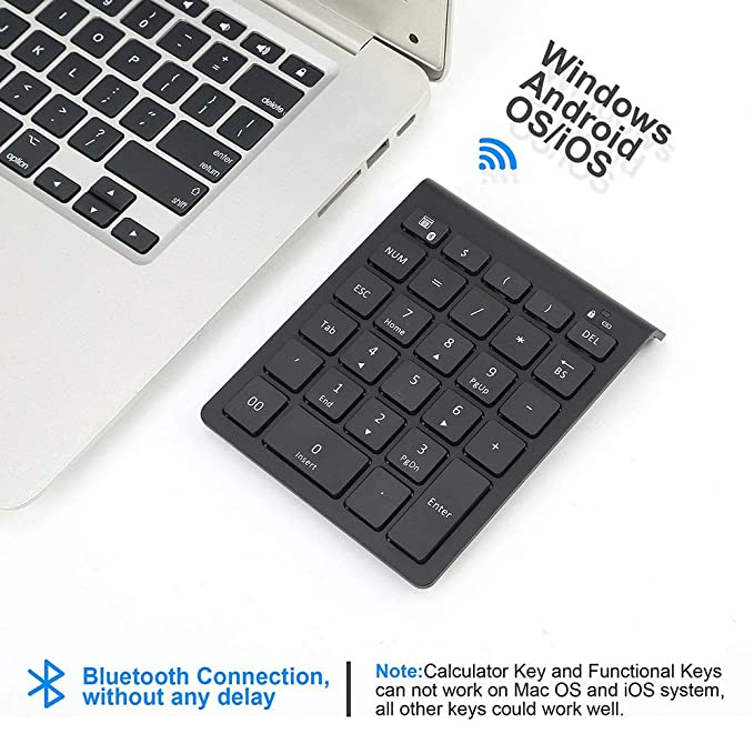 ... Numeric Keyboard with Shortcuts Compatible for Laptop Note Surface Pro iMac Mackbook iPad Android Tablet Smartphone (Black): Computers & Accessories