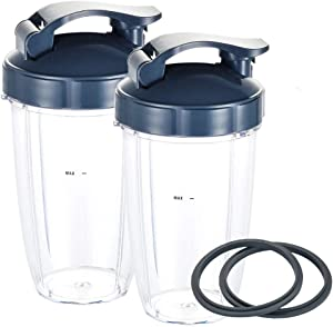 Blender Replacement Parts for Nutribullet, 24OZ Cups with 2 Flip Top To Go Lids and 2 Rubber Gaskets, Compatible with Nutri Bullet 600W/900W Blenders (6 PCS)