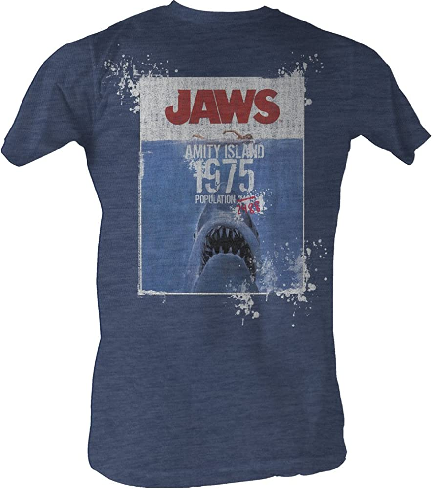 Jaws 1970's Shark Thriller Spielberg Movie Island Population 1975 Adult T-Shirt