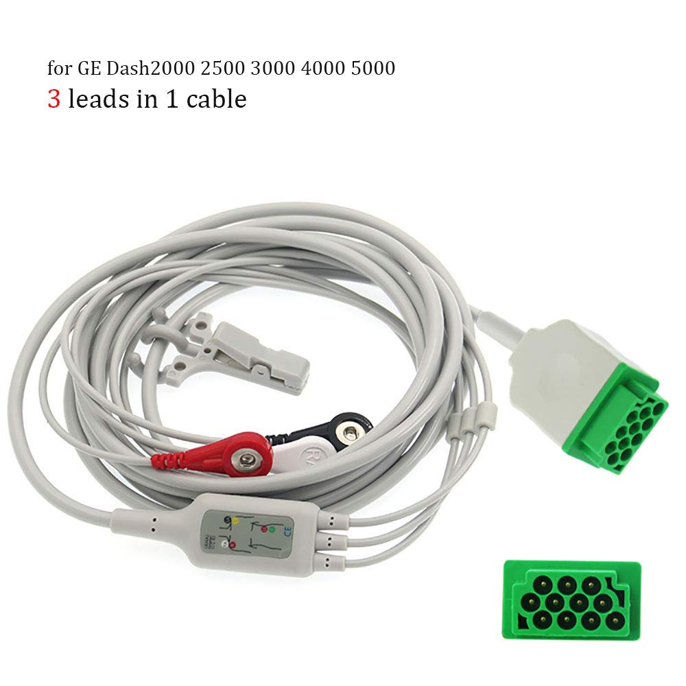 Cables for Dash 2000/2500/3000/4000, Snap Buttons Type Wire, Recorders Accessories, Tracers, Analyzers Tester Contacting Cable Series (3 Leads, Snap Buttons for Dash2000 2500 3000 4000 5000)