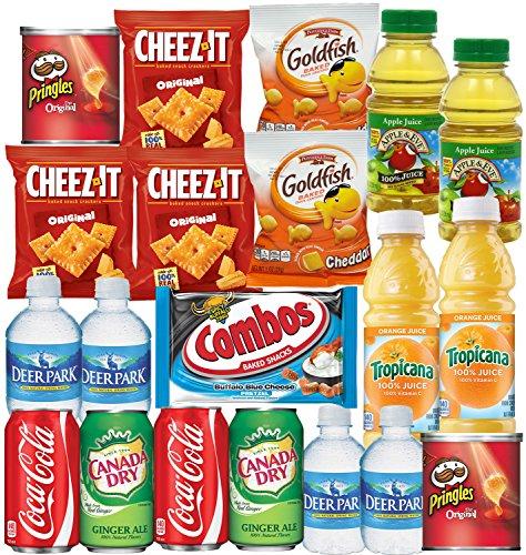 coca-cola-ginger-ale-bottled-water-apple-juice-tropicana-orange-cheeze-it-pringles-goldfish-combos-s