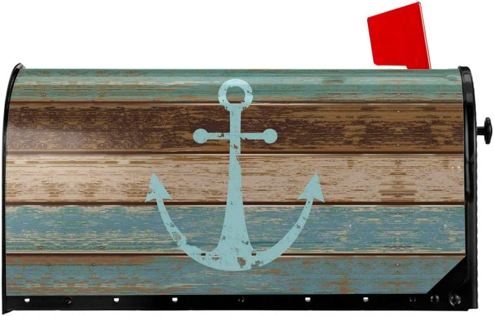 MSGUIDE Magnetic Mailbox Cover, Waterproof Vintage Anchor Wooden Rustic Mailbox Wraps Post Letter Box Cover Standard Size 18