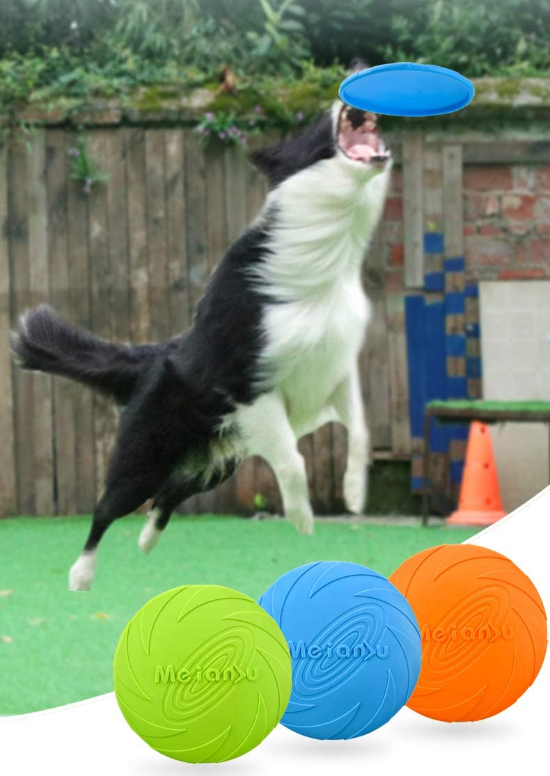 Pet Training Rubber Flying Saucer Interactive Toys Floating Water Dog Toy L 3 PACK XIUNPR-6 Dog Flying Disc Training Outdoor Toys for Puppy Medium Dogs